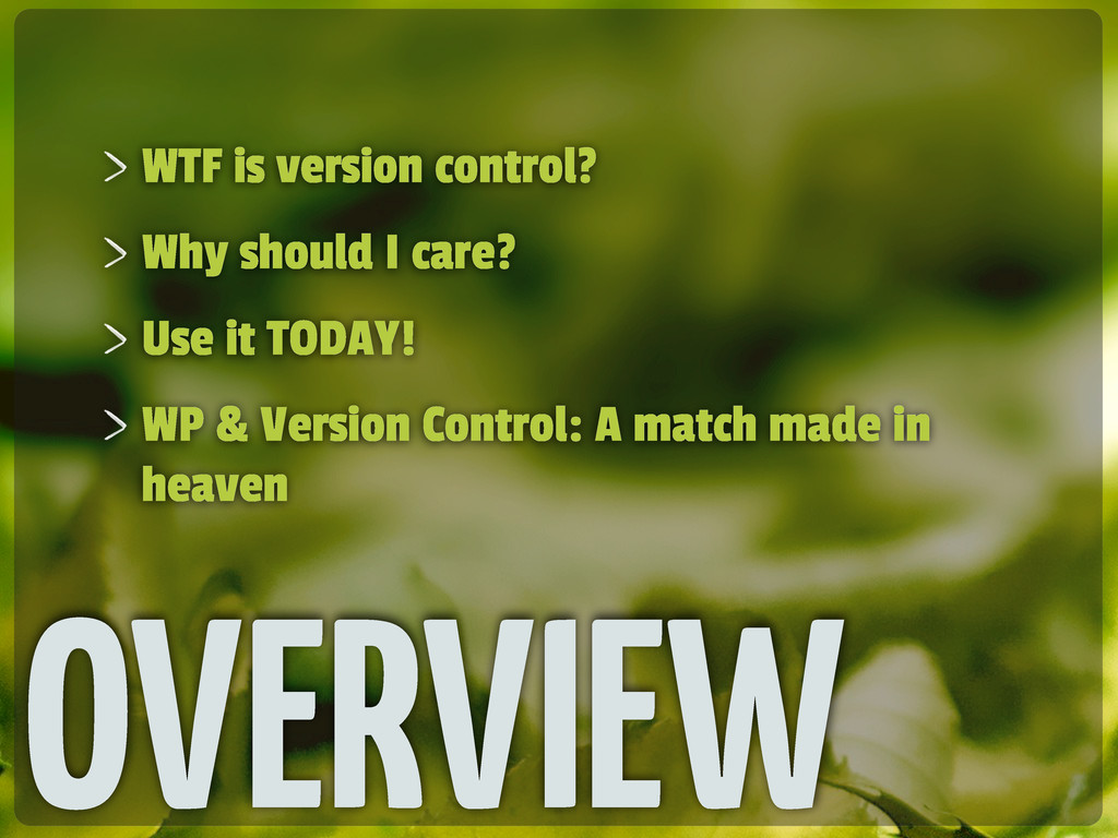 OVERVIEW WTF is version control? Why should I c...