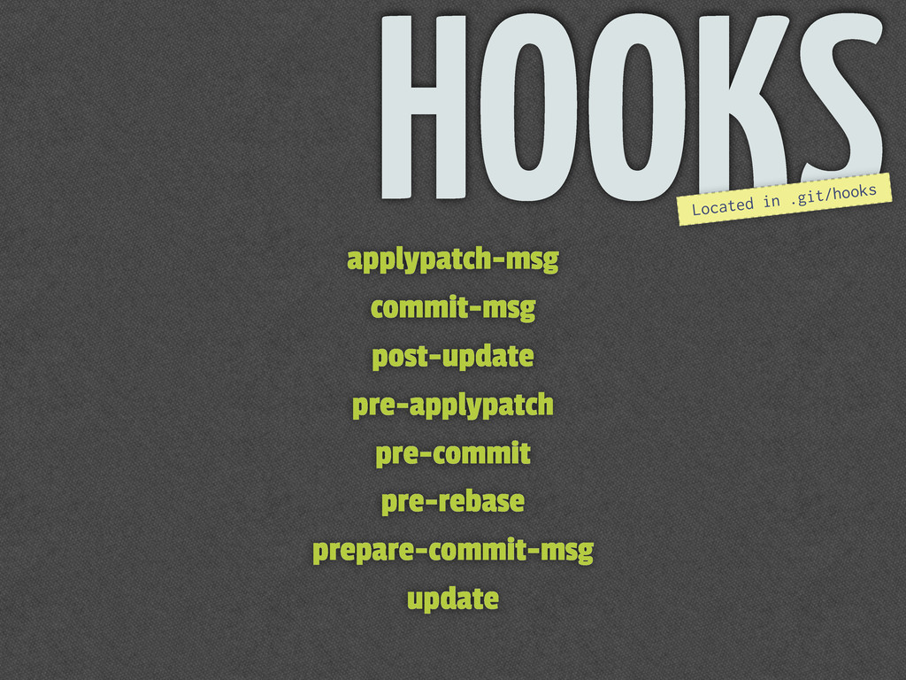 HOOKS Located in .git/hooks applypatch-msg comm...