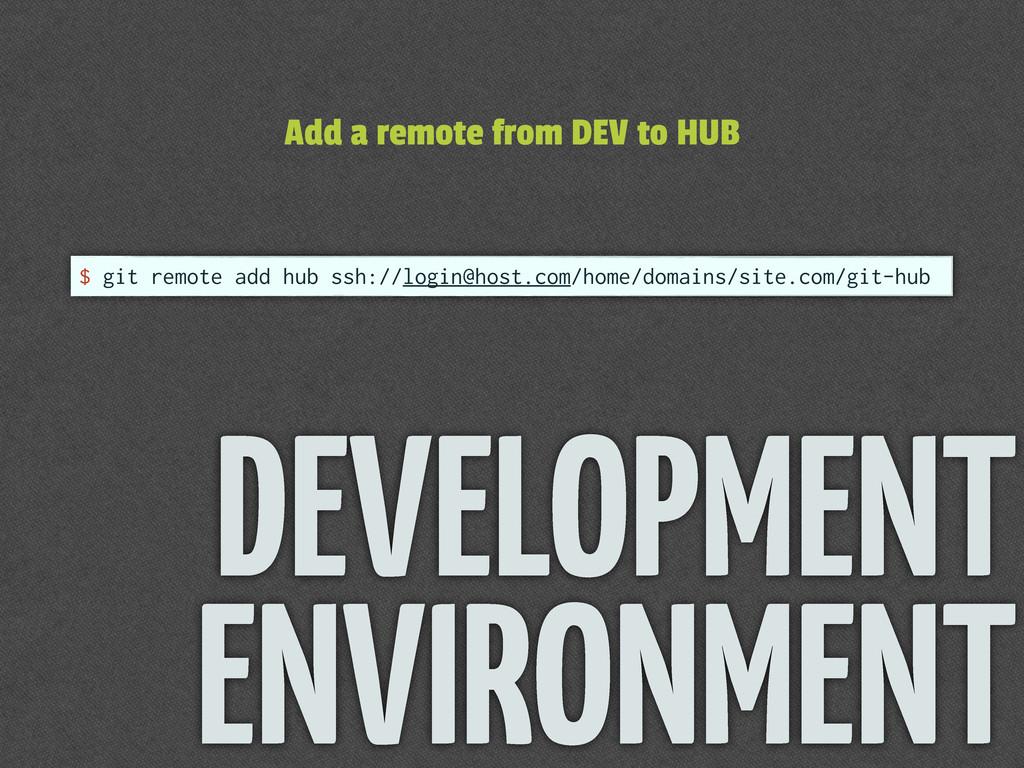 $ git remote add hub ssh://login@host.com/home/...