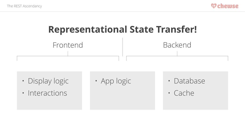 The REST Ascendancy • Database • Cache • App lo...