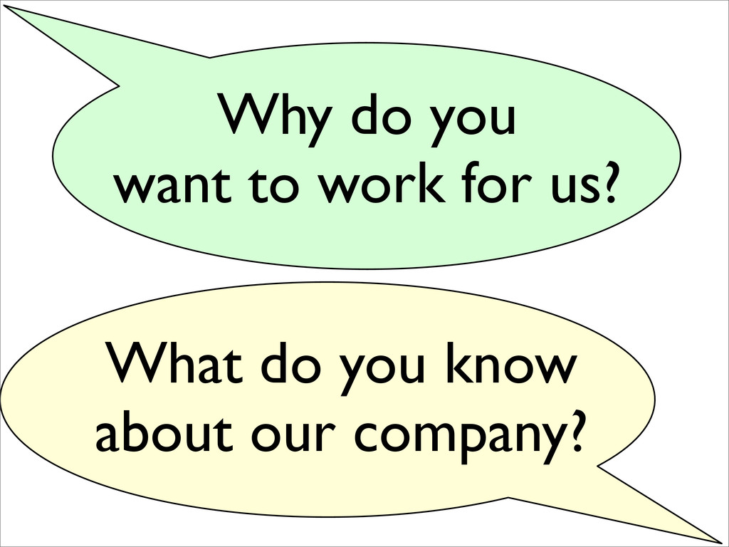 Why do you want to work for us? What do you kno...