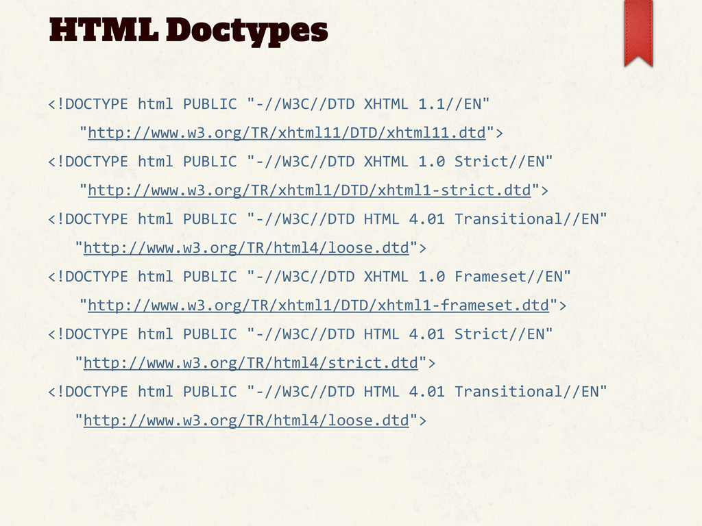 """HTML Doctypes <!DOCTYPE html PUBLIC """"-..."""