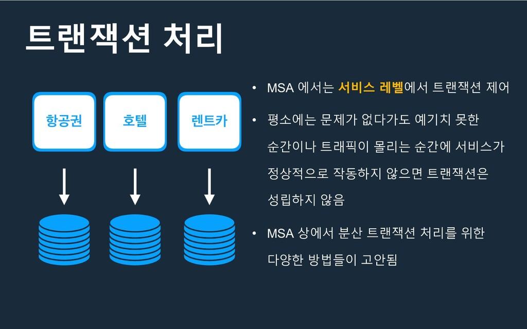 트랜잭션 처리 • MSA 에서는 서비스 레벨에서 트랜잭션 제어 • 평소에는 문제가 없...