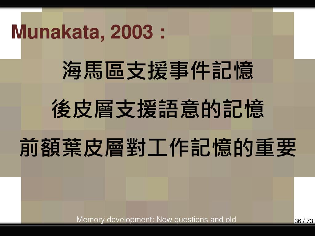 海馬區支援事件記憶 後皮層支援語意的記憶 前額葉皮層對工作記憶的重要 Munakata, 20...
