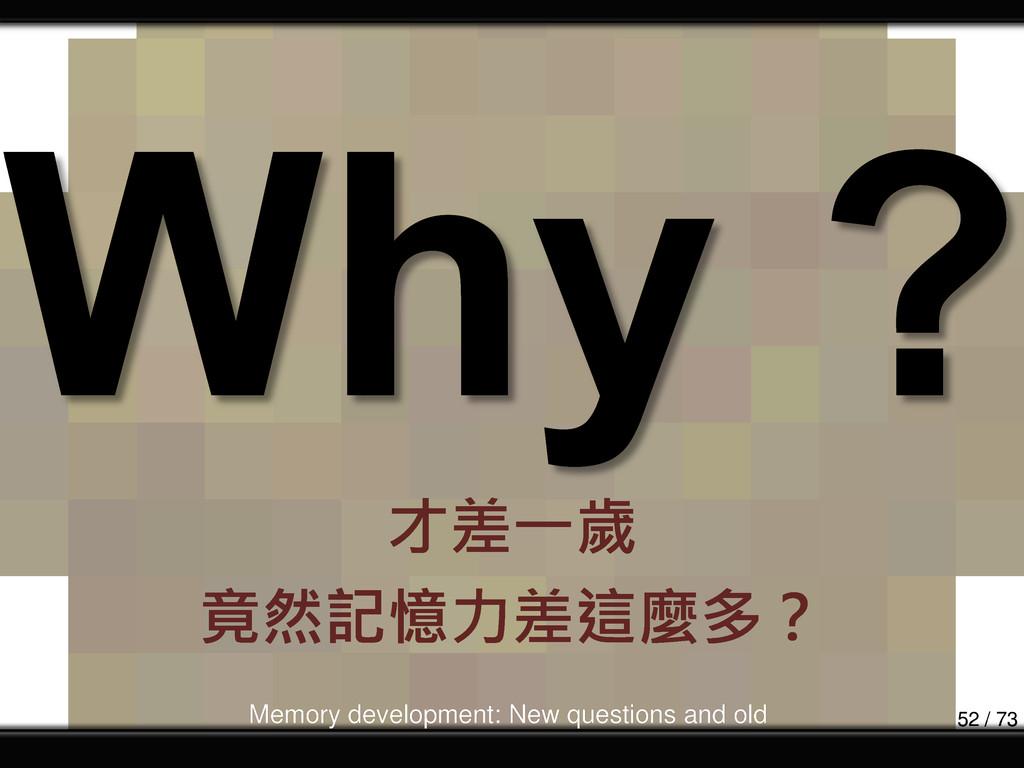 才差一歲 竟然記憶力差這麼多? Memory development: New questio...