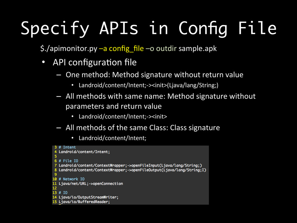 Specify APIs in Config File  $./apimonitor.py	