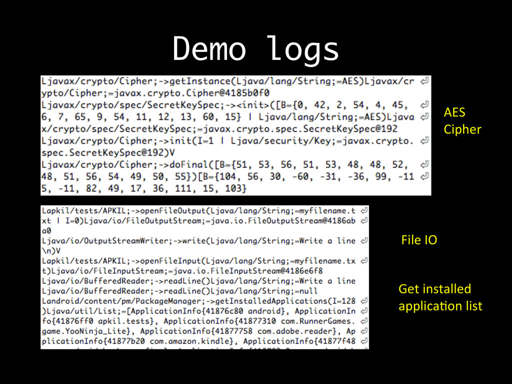 Demo logs AES	