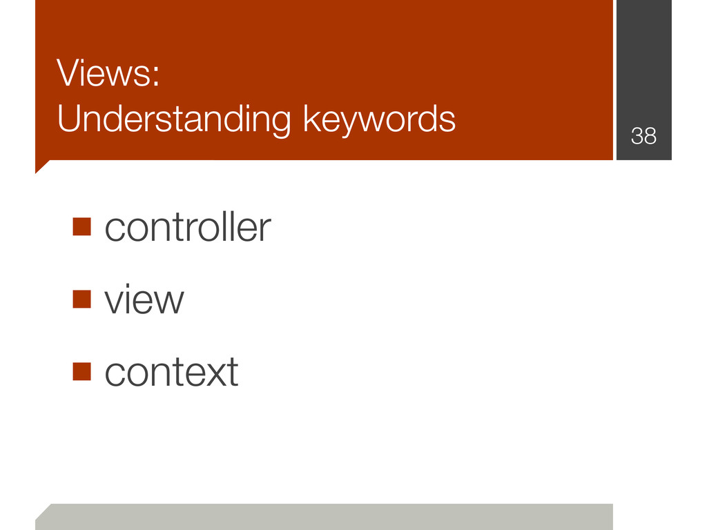 Views: Understanding keywords ■ controller ■ vi...