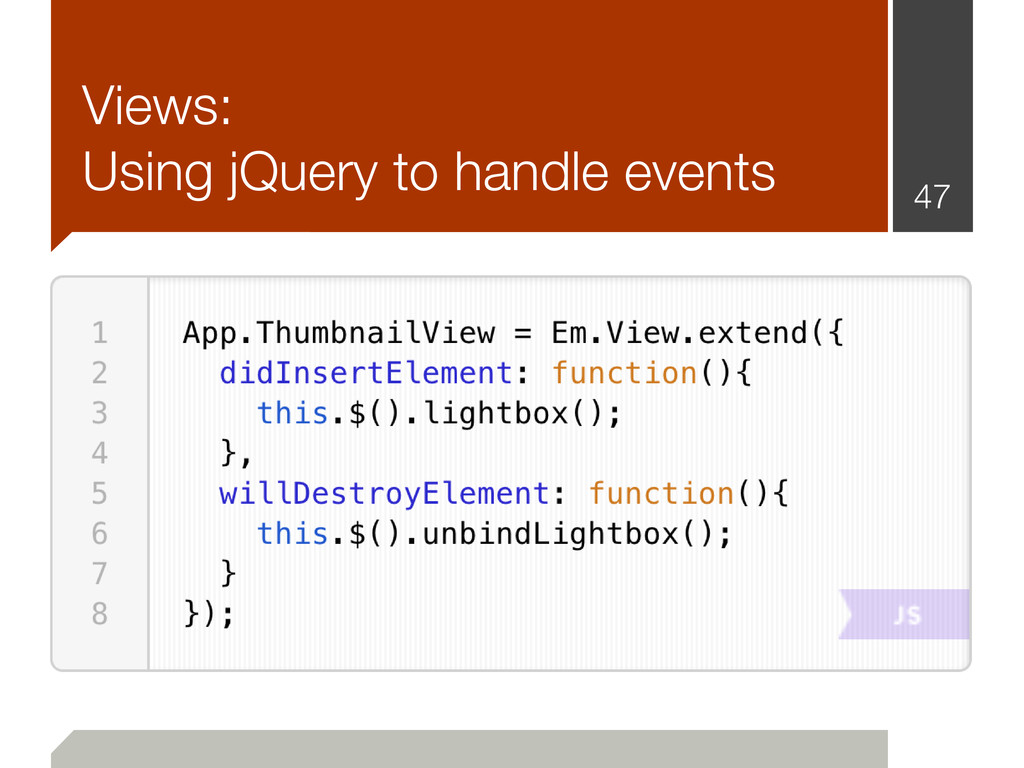 Views: Using jQuery to handle events 47