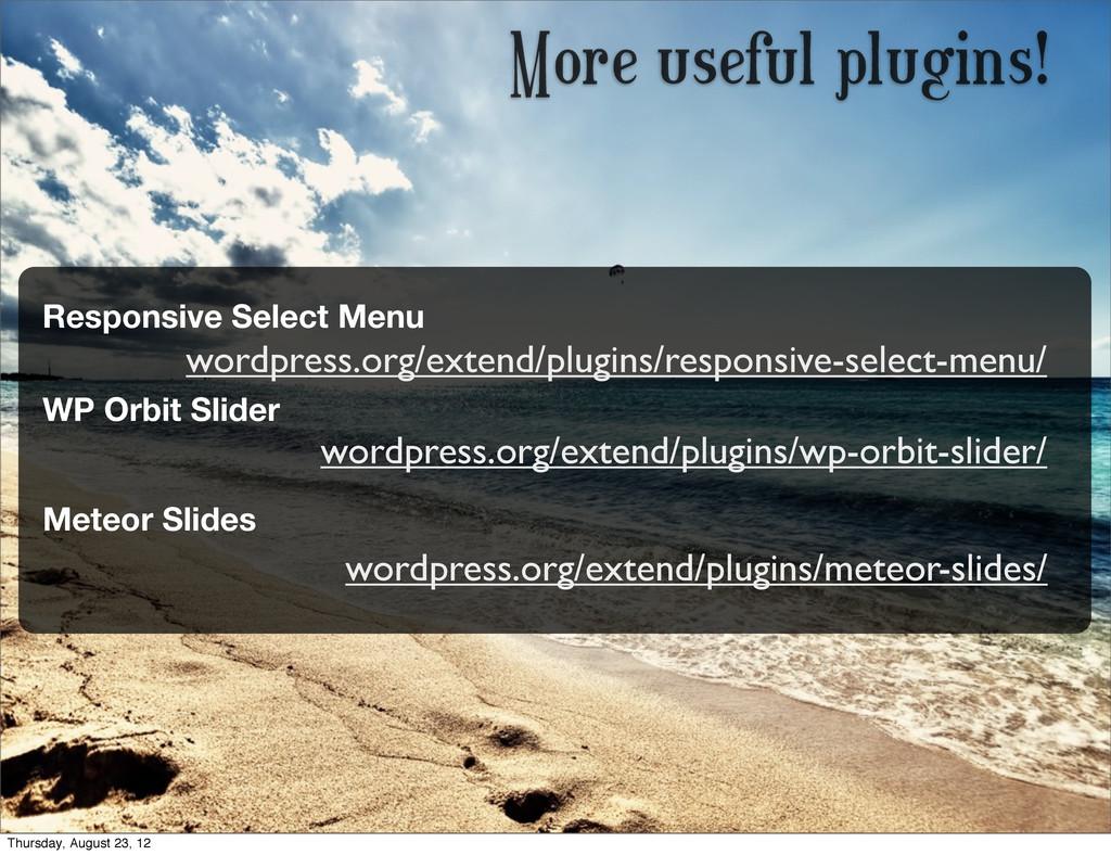 More useful plugins! wordpress.org/extend/plugi...