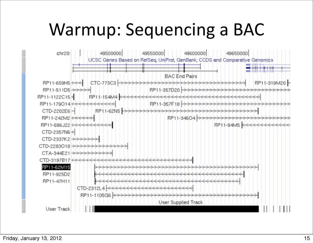 Warmup: Sequencing a BAC 15 Friday, Ja...