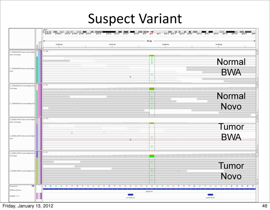 Suspect Variant Tumor Novo Tumor BWA Normal ...