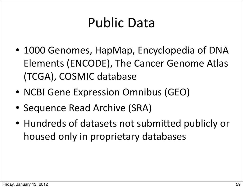 Public Data  1000 Genomes, HapMap, ...