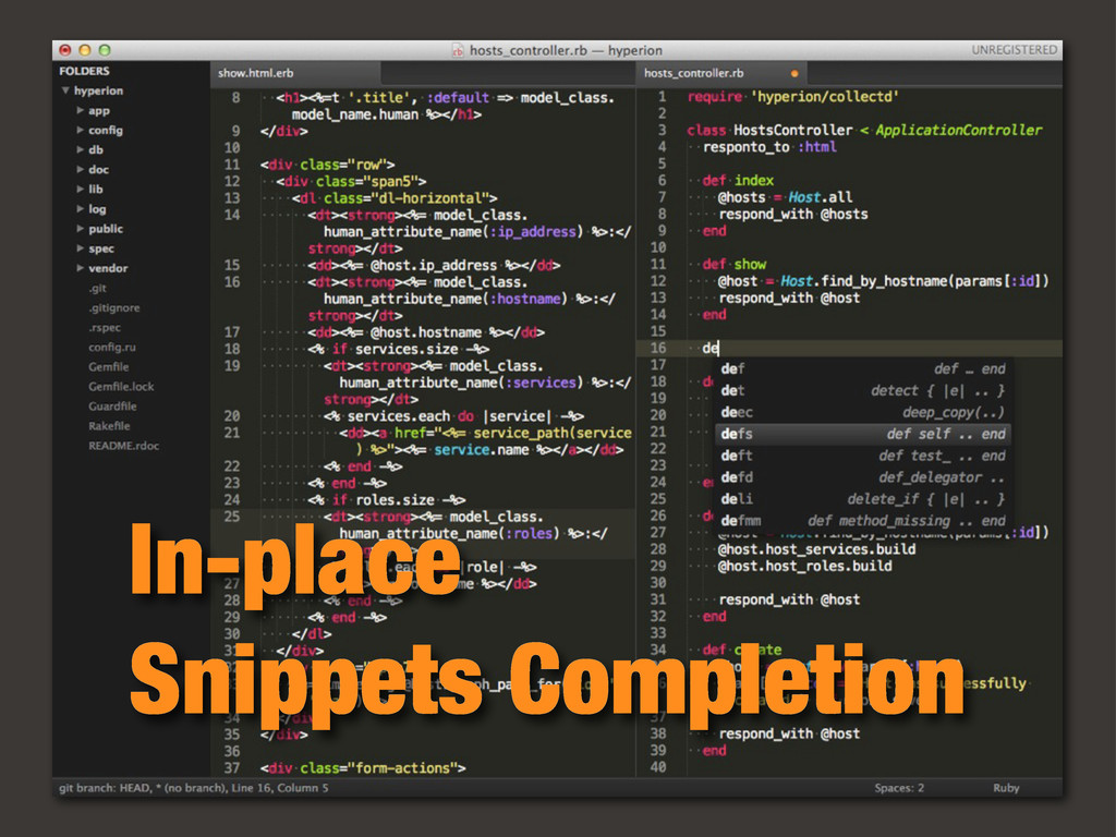 In-place Snippets Completion