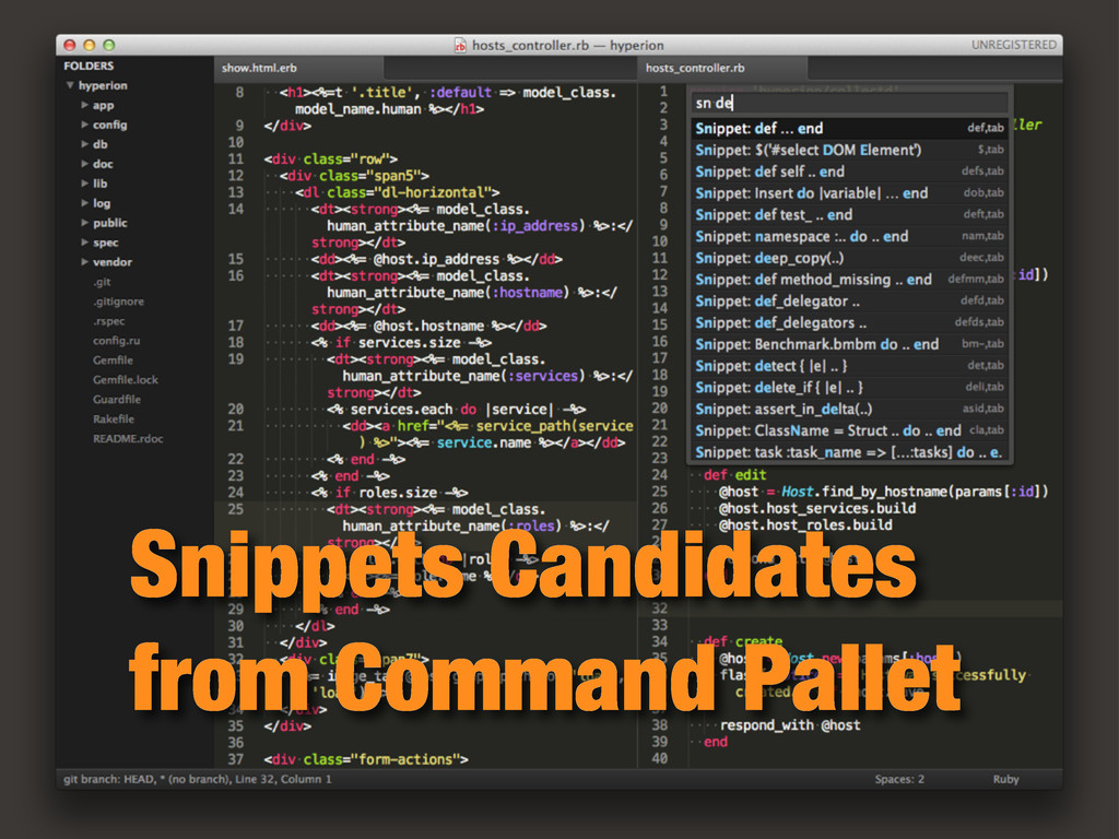 Snippets Candidates from Command Pallet