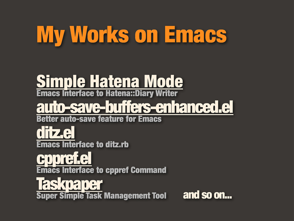 My Works on Emacs Simple Hatena Mode Emacs Inte...