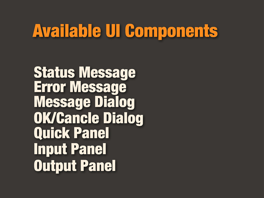Available UI Components Status Message Error Me...