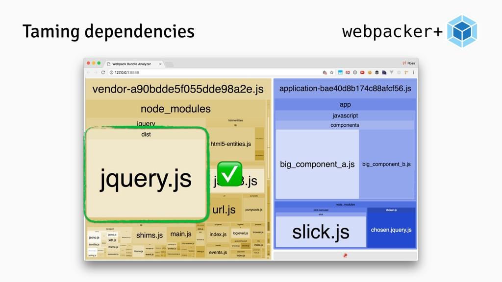 webpacker+ Taming dependencies ✅