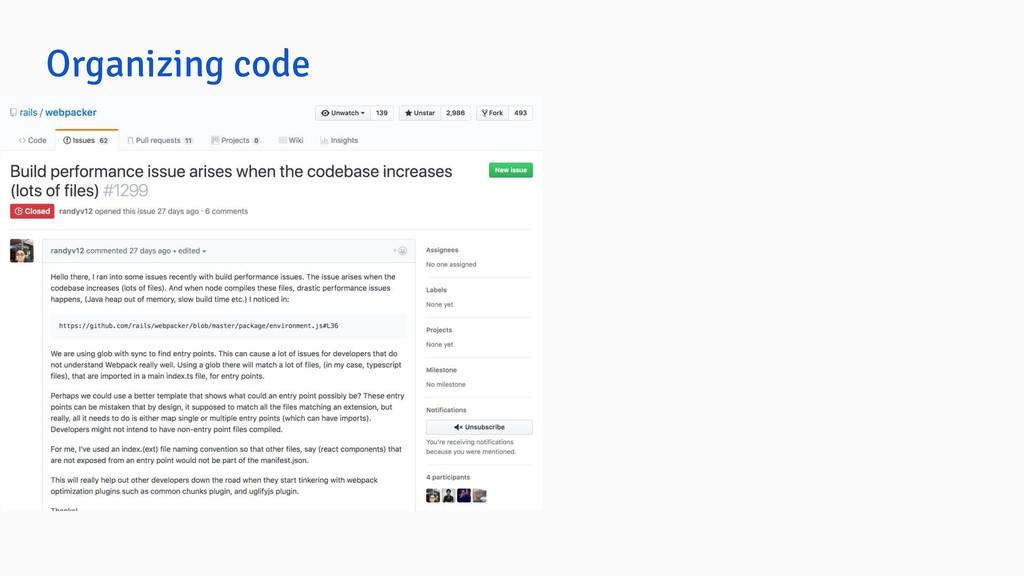 Organizing code