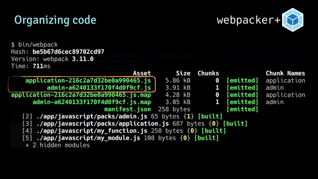 Organizing code webpacker+