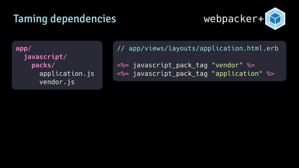 webpacker+ Taming dependencies app/ javascript/...