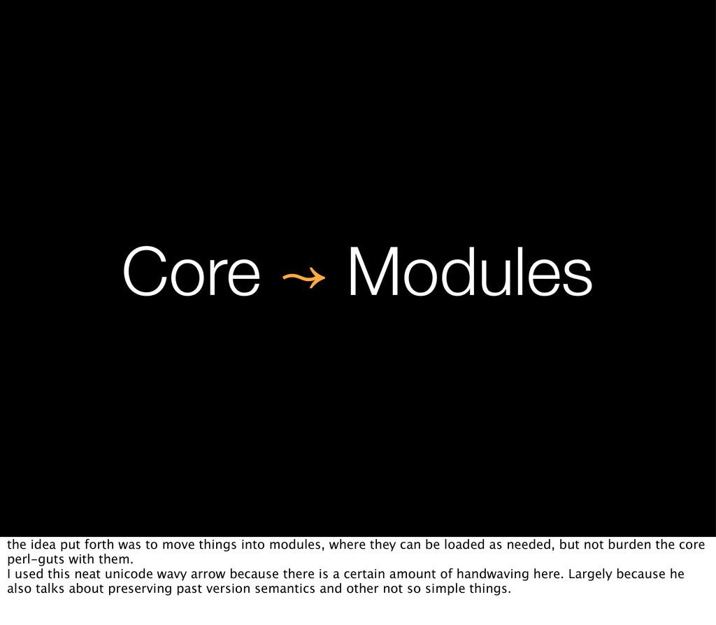 Core ↝ Modules the idea put forth was to move t...