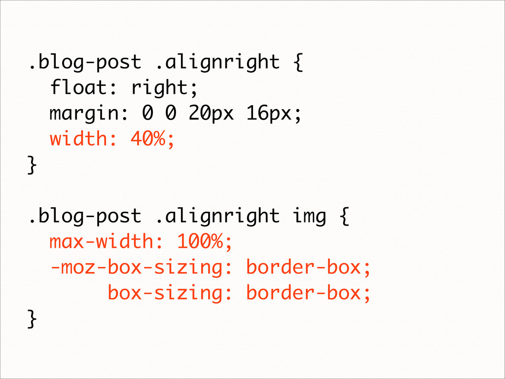 .blog-post .alignright { float: right; margin: ...