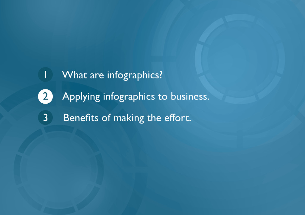 1 What are infographics? 2 Applying infographic...