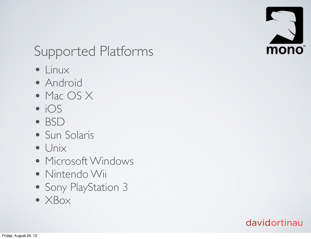 Supported Platforms • Linux • Android • Mac OS ...