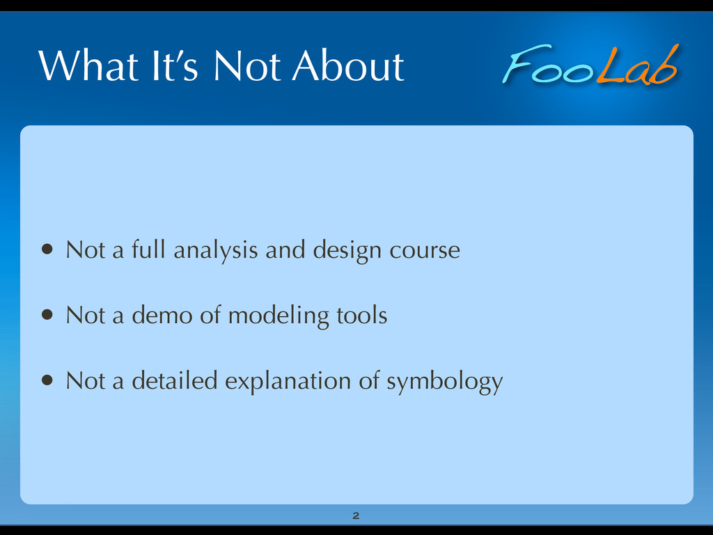 FooLab What It's Not About • Not a full analysi...