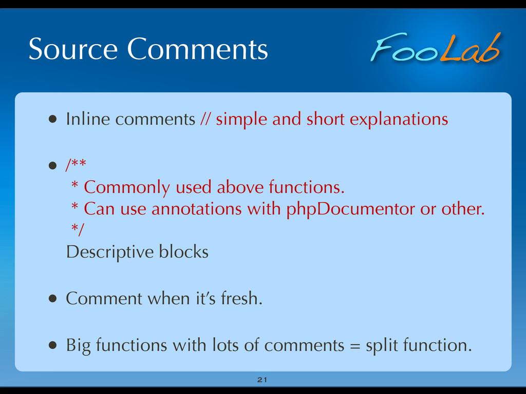 FooLab Source Comments • Inline comments // sim...