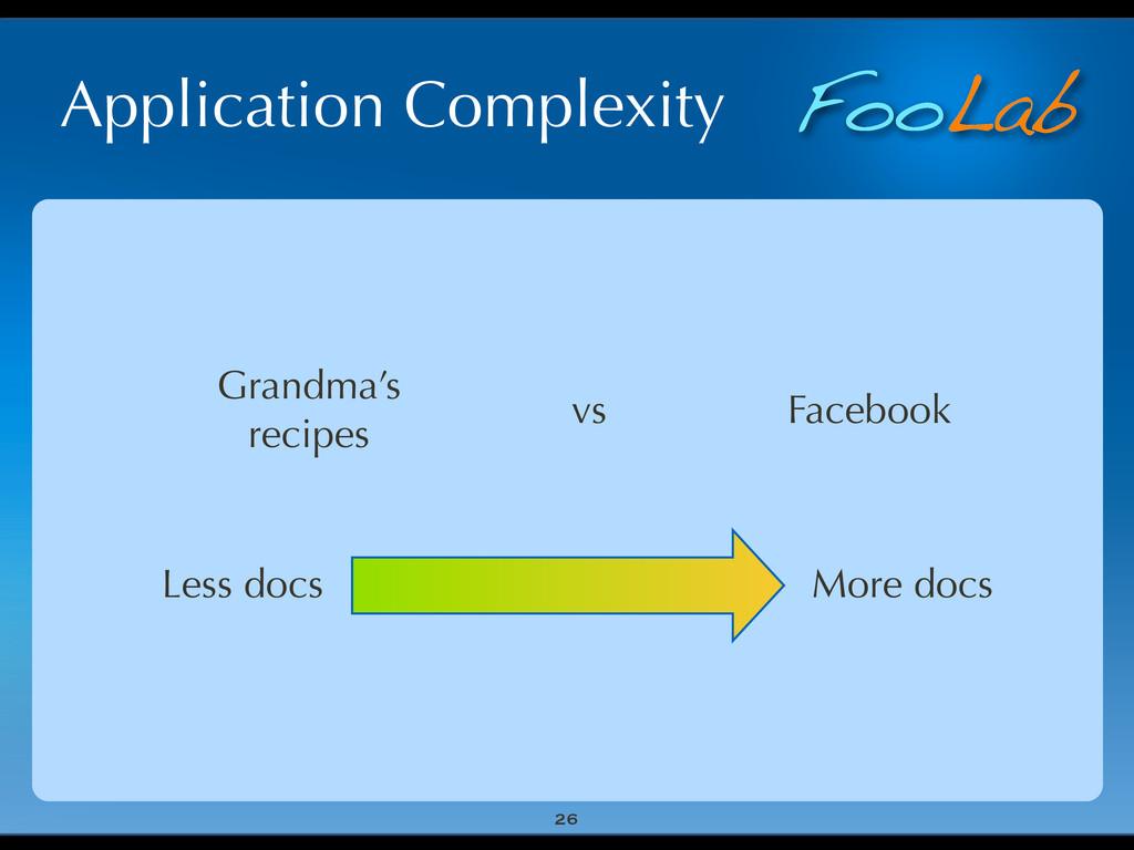 FooLab Application Complexity 26 More docs Less...