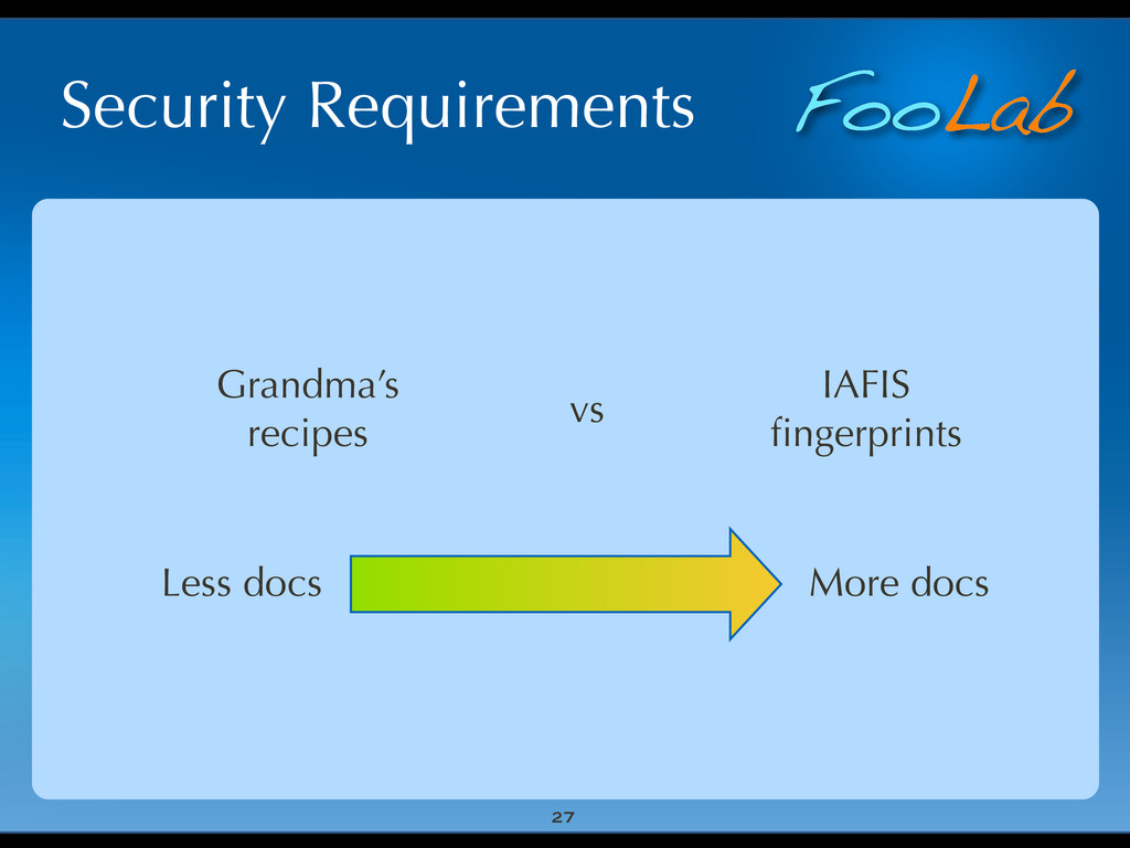 FooLab Security Requirements 27 Grandma's recip...