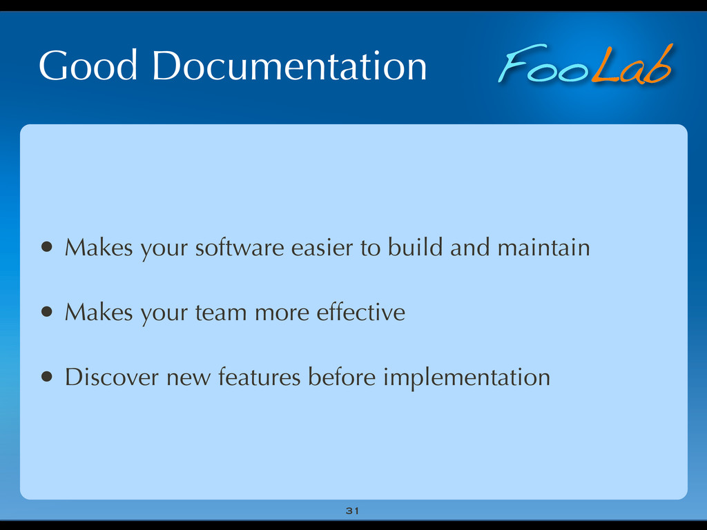 FooLab Good Documentation • Makes your software...