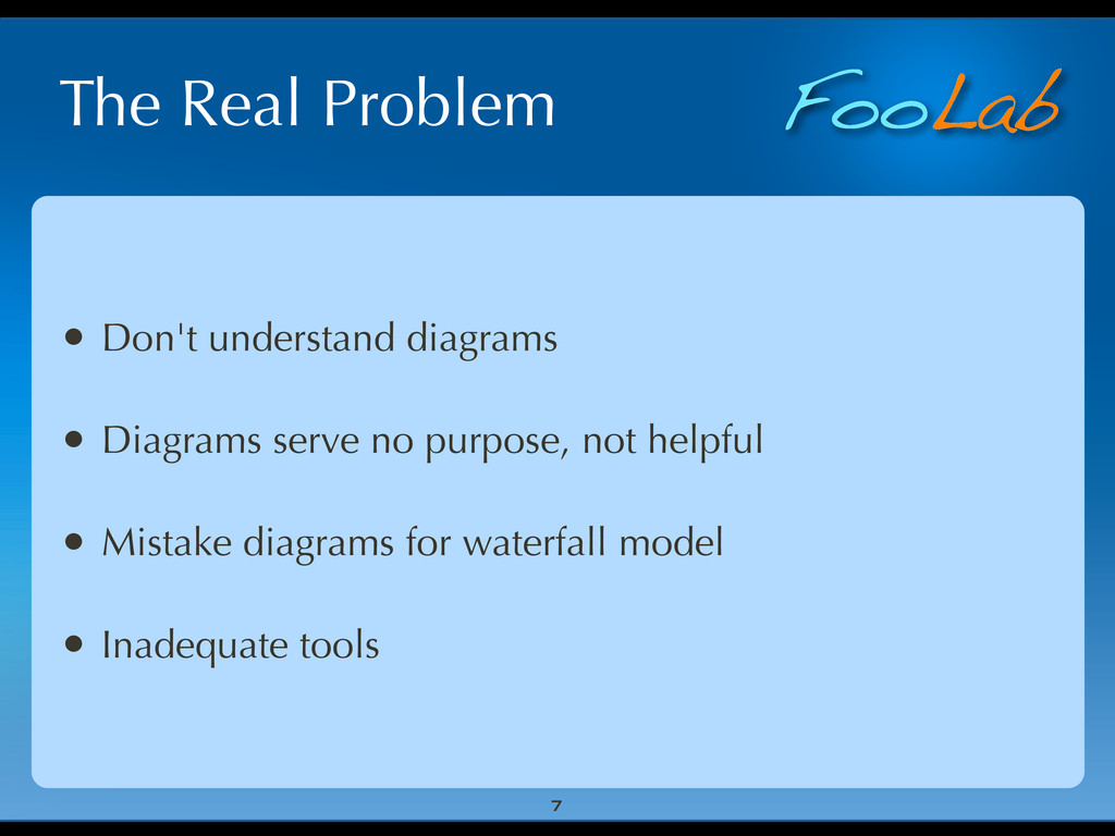 FooLab The Real Problem • Don't understand diag...