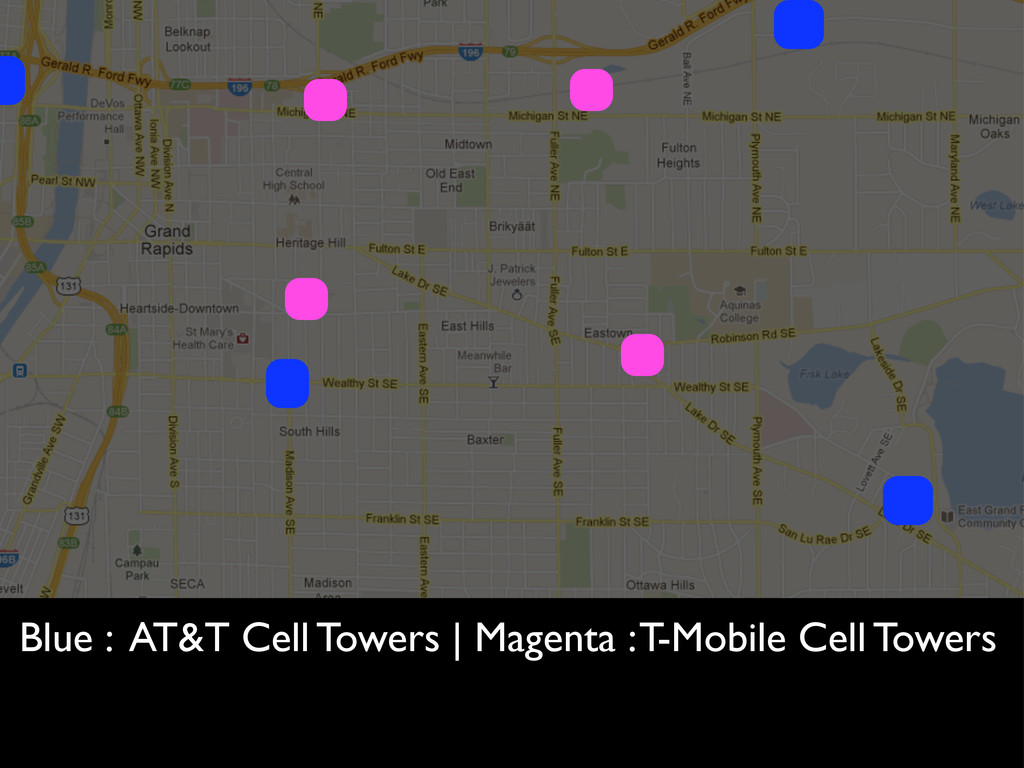 Blue : AT&T Cell Towers | Magenta : T-Mobile Ce...