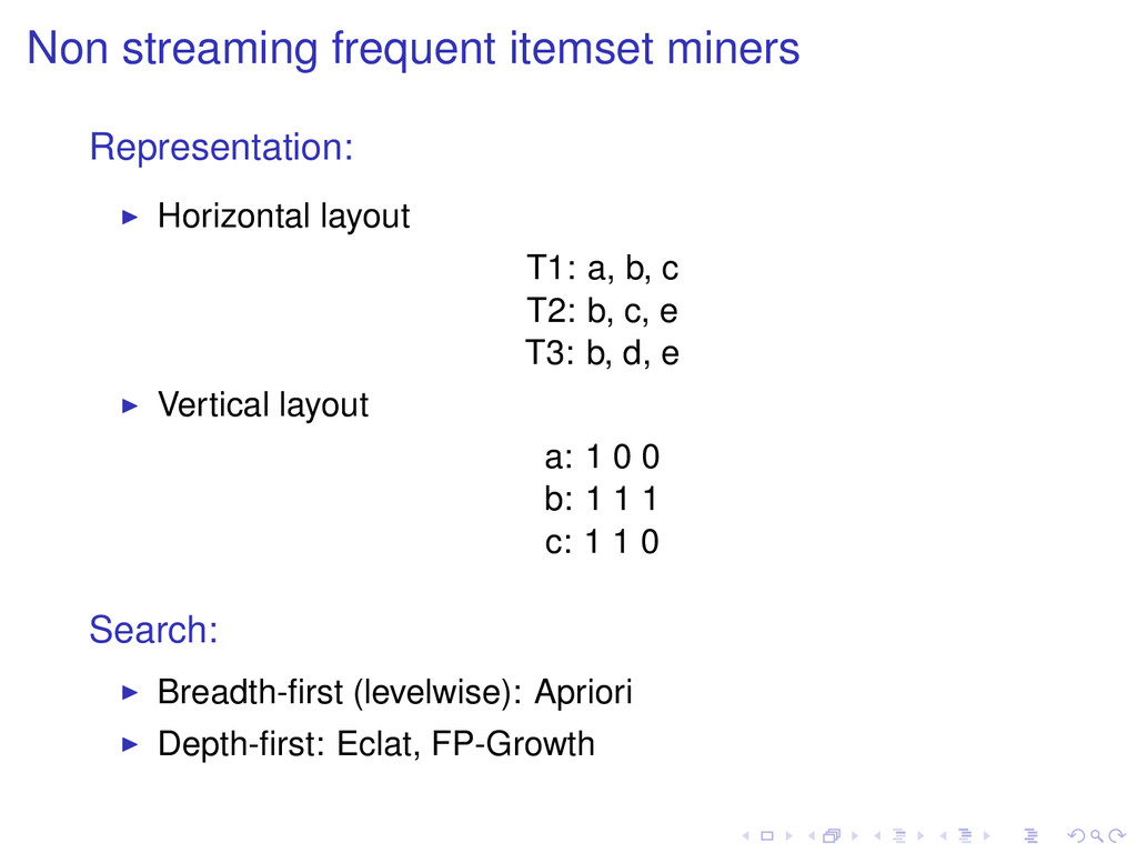 Non streaming frequent itemset miners Represent...
