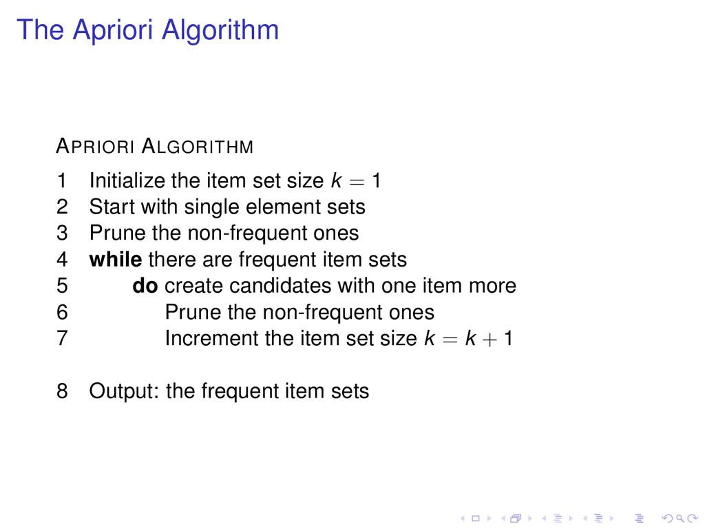 The Apriori Algorithm APRIORI ALGORITHM 1 Initi...
