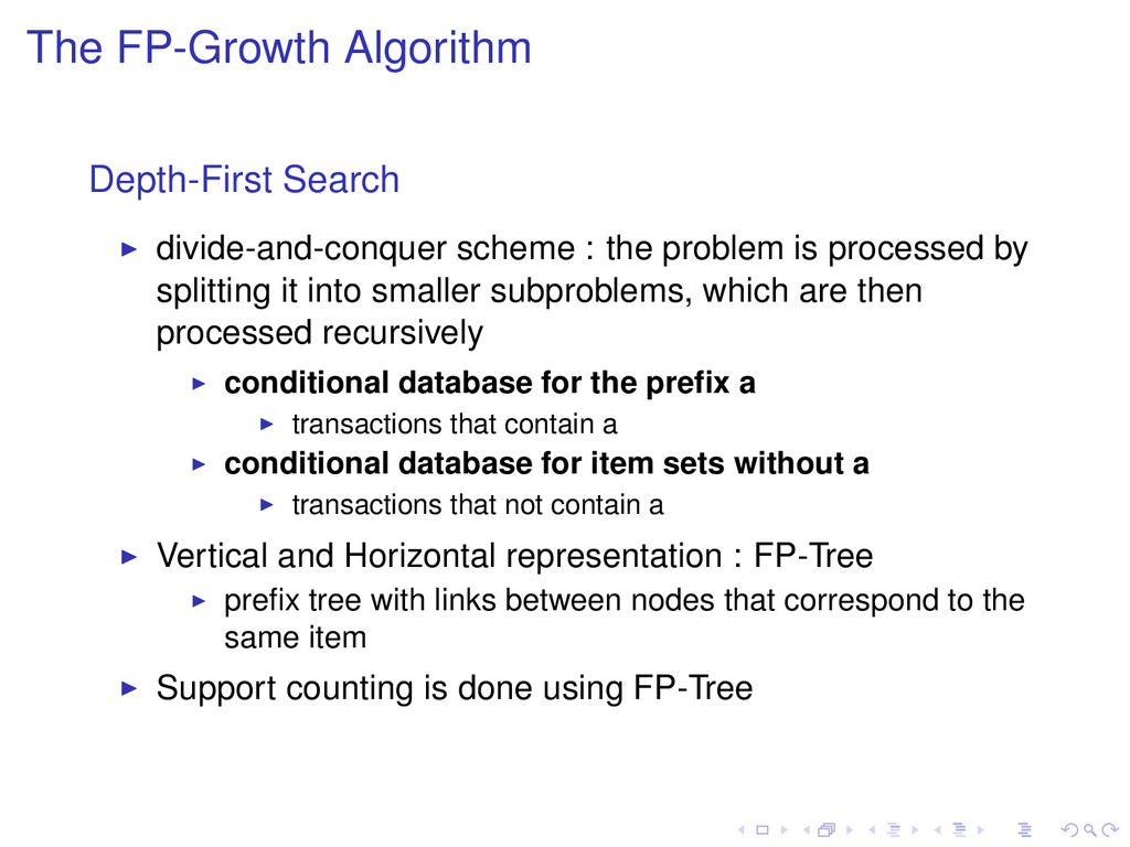 The FP-Growth Algorithm Depth-First Search divi...