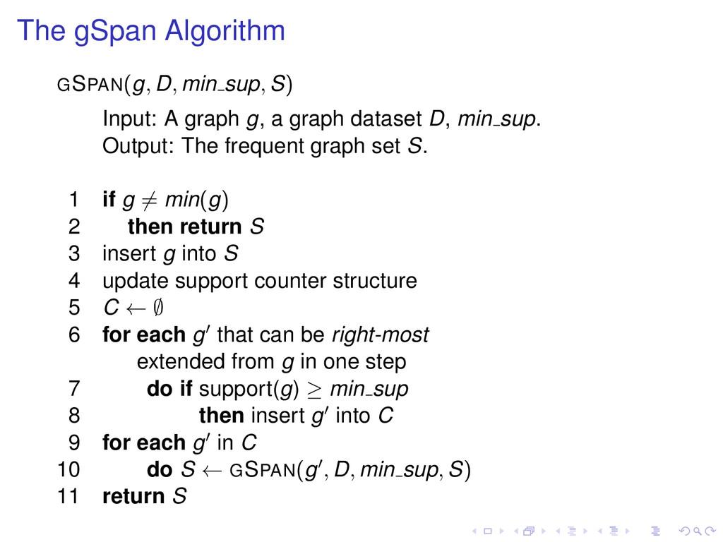 The gSpan Algorithm GSPAN(g, D, min sup, S) Inp...