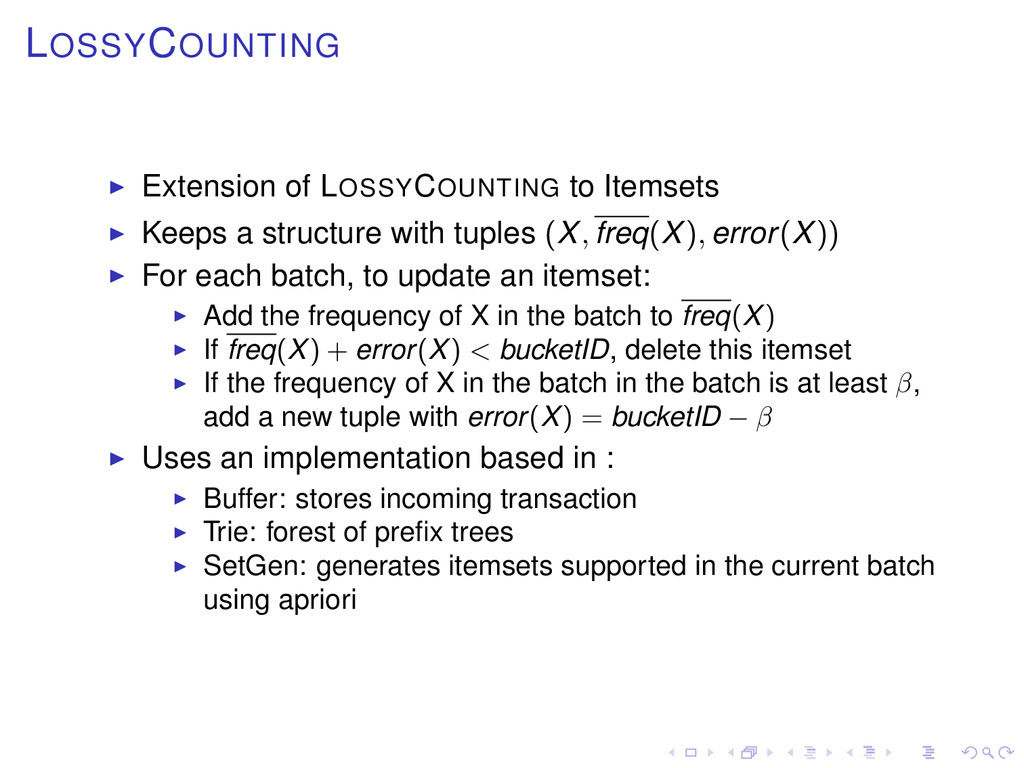 LOSSYCOUNTING Extension of LOSSYCOUNTING to Ite...