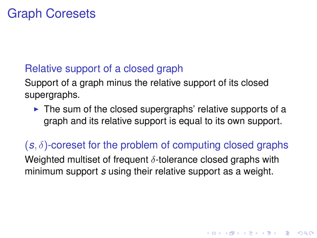 Graph Coresets Relative support of a closed gra...