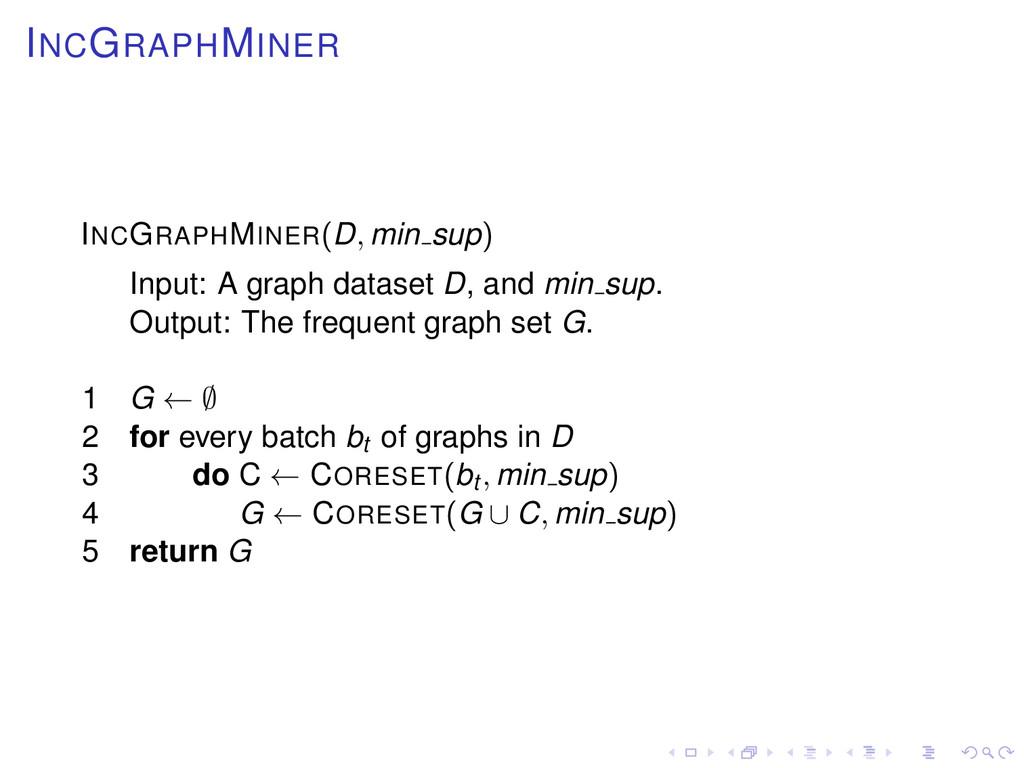 INCGRAPHMINER INCGRAPHMINER(D, min sup) Input: ...