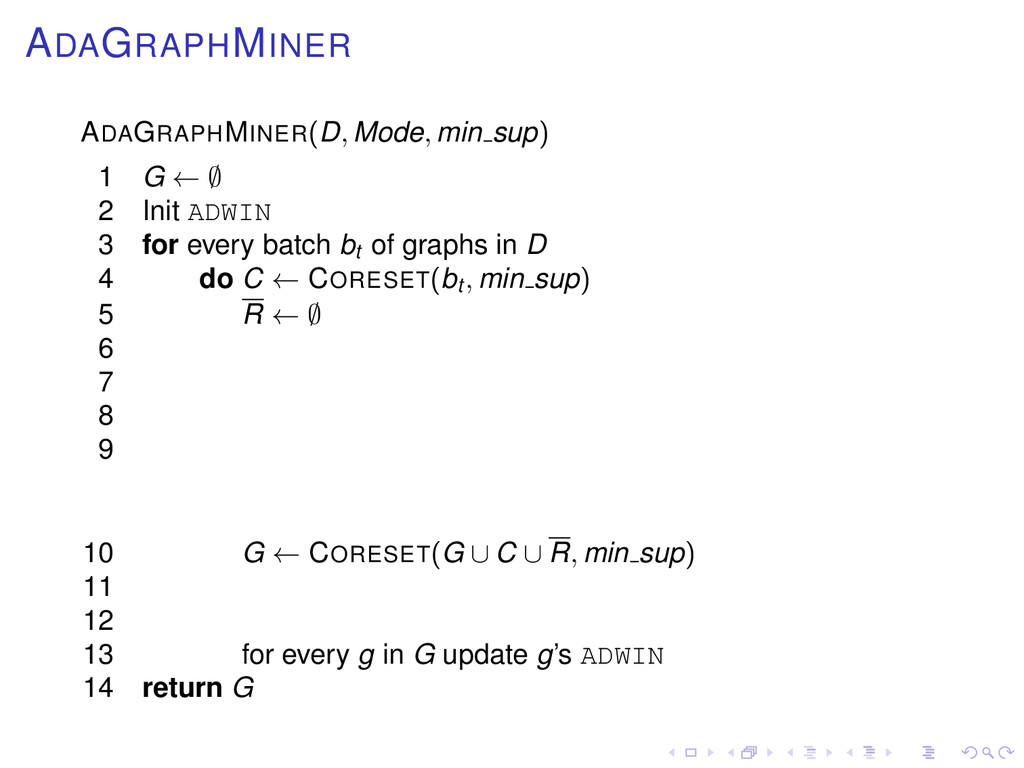 ADAGRAPHMINER ADAGRAPHMINER(D, Mode, min sup) 1...