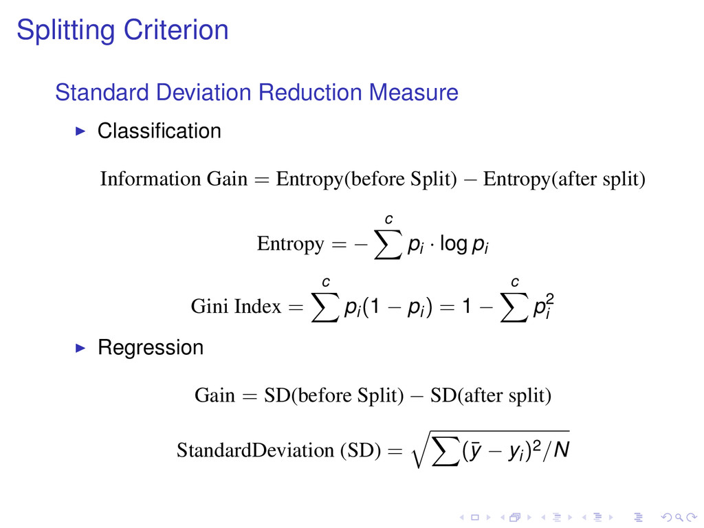 Splitting Criterion Standard Deviation Reductio...