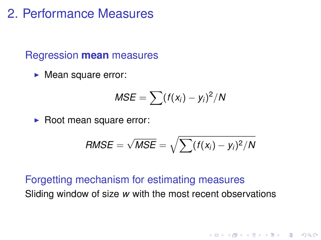 2. Performance Measures Regression mean measure...