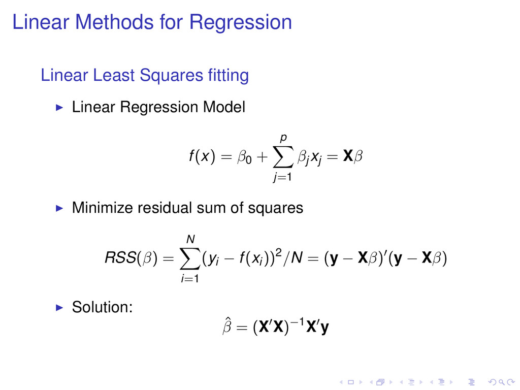 Linear Methods for Regression Linear Least Squa...