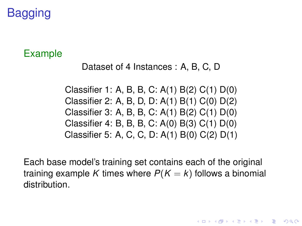 Bagging Example Dataset of 4 Instances : A, B, ...