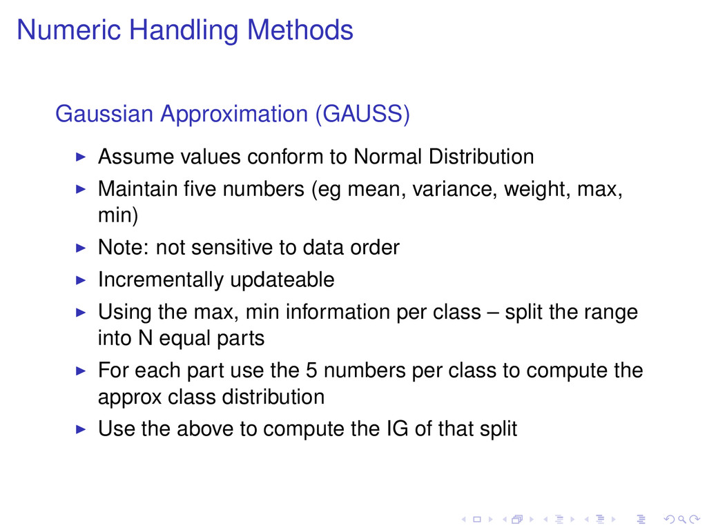 Numeric Handling Methods Gaussian Approximation...