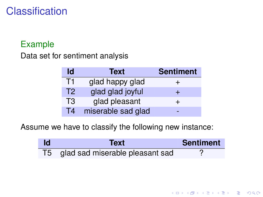 Classification Example Data set for sentiment an...